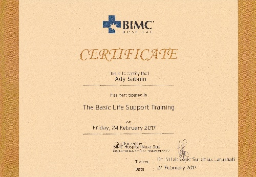Certificate of the basic life support training for Ady