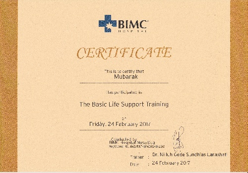 Certificate of the basic life support training for Mubarak