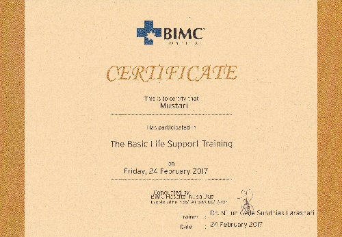 Certificate of the basic life support training for Mustari