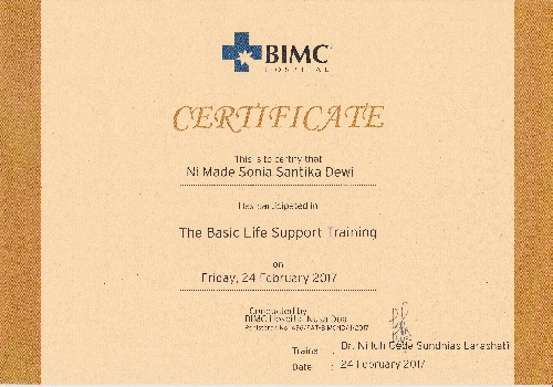 Certificate of the basic life support training for Sonia