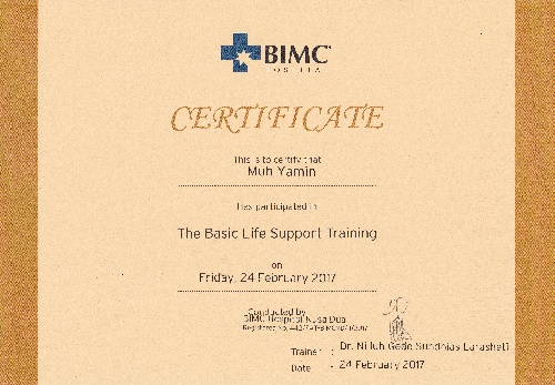 Certificate of the basic life support training for Yamin