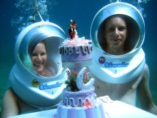 Celebration underwater wedding anniversary